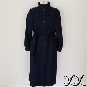 Vintage Wool Coat Blue White Stripes Belt Long